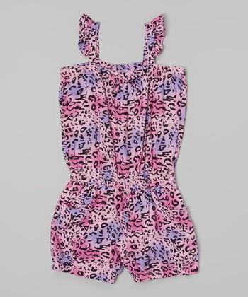 Purple & Pink Leopard Romper - Infant, Toddler & Girls