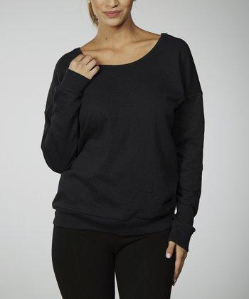 Black Scoop Back Sweatshirt - Women