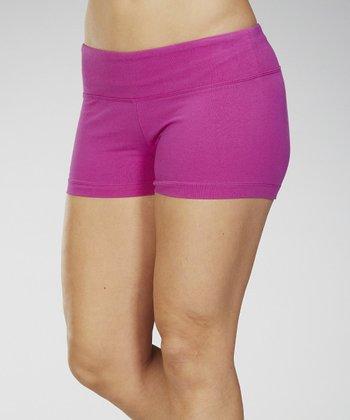 Neon Purple Stretch-Fit Shorts - Women