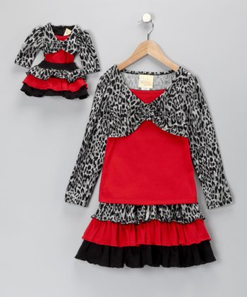 Red Leopard Dress & Doll Outfit - Girls