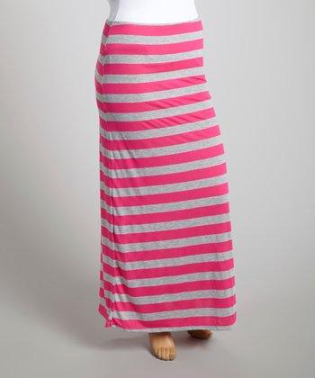 Fuchsia & Gray Stripe Maxi Skirt - Plus