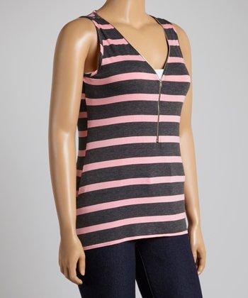 Pink & Charcoal Stripe Zipper Tank - Plus