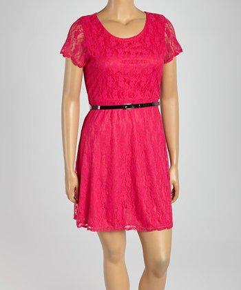 Fuchsia Lace Belted Cap-Sleeve Dress - Plus