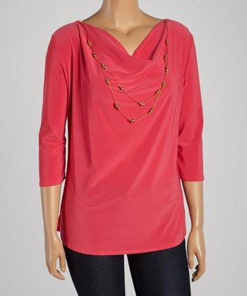 Fuchsia Necklace Drape Top - Plus