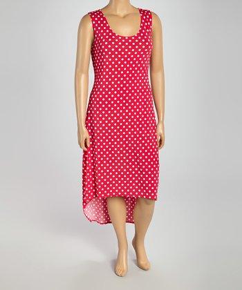 Fuchsia & White Polka Dot Hi-Low Dress - Plus