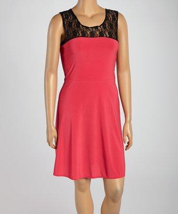 Fuchsia & Black Lace Sleeveless Dress - Plus