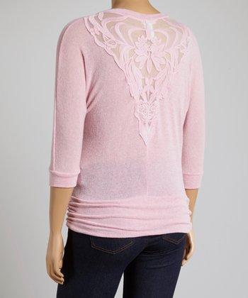 Pink Lace Dolman Top - Plus