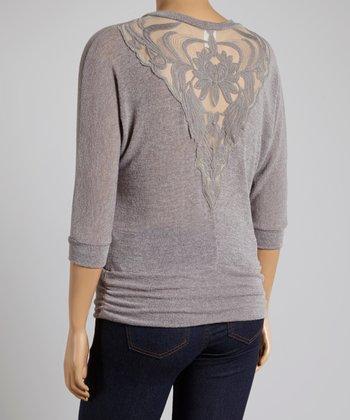 Gray Lace Dolman Top - Plus
