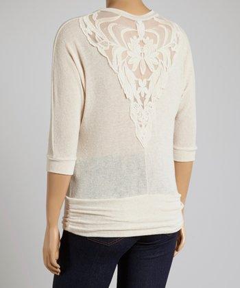 Cream Lace Dolman Top - Plus