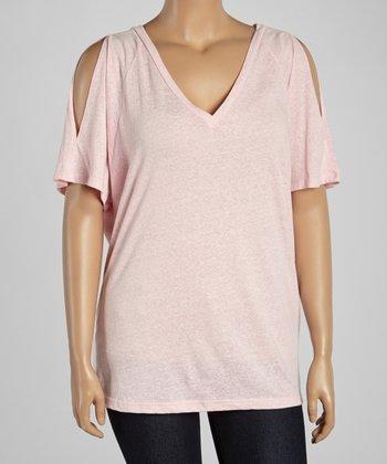 Light Pink Cutout V-Neck Tee - Plus