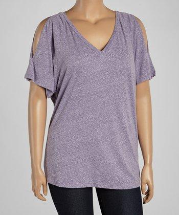 Purple Cutout V-Neck Tee - Plus