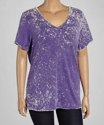 Purple Tie-Dye V-Neck Tee - Plus