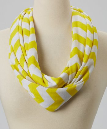 Yellow & White Zigzag Infinity Scarf