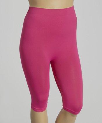 Hot Pink Short Leggings - Plus