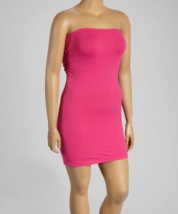 Hot Pink Strapless Slip - Plus
