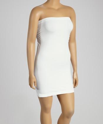 White Strapless Slip - Plus