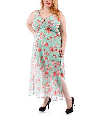 Mint Floral Sheer Maxi Surplice Dress - Plus