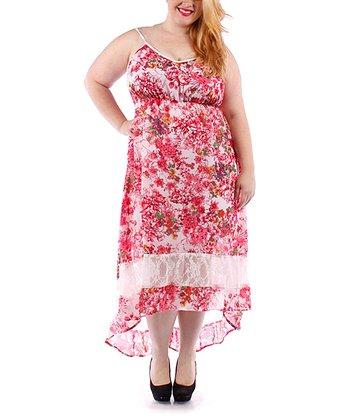 Pink & White Floral Lace Hi-Low Dress - Plus
