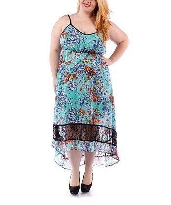 Mint Floral Lace Hi-Low Dress - Plus