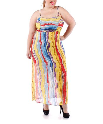 Red & Purple Stripe Sheer Maxi Dress - Plus