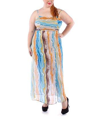 Gray & Blue Stripe Sheer Maxi Dress - Plus