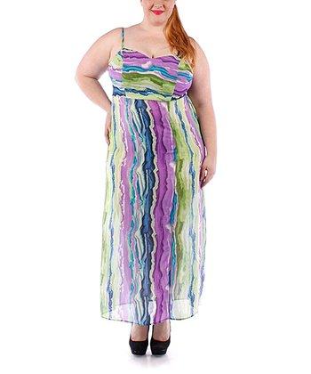 Navy & Green Stripe Sheer Maxi Dress - Plus