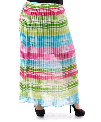 Aqua & Magenta Stripe Sheer Accordion Skirt - Plus
