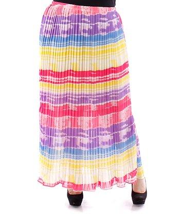 Purple & Yellow Stripe Sheer Accordion Skirt - Plus