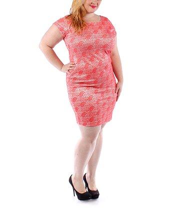 Coral Lace Sheath Dress - Plus