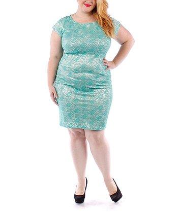 Green Lace Sheath Dress - Plus