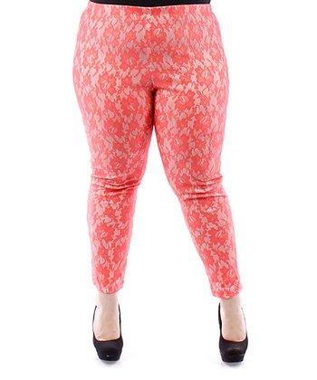 Coral Floral Lace Skinny Pants - Plus