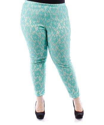 Jade Floral Lace Skinny Pants - Plus
