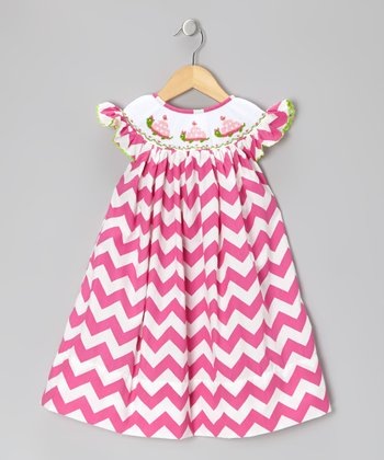 Pink Zigzag Smocked Dress - Toddler & Girls