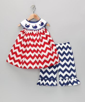 Red Smocked Zigzag Top & Blue Pants - Infant, Toddler & Girls