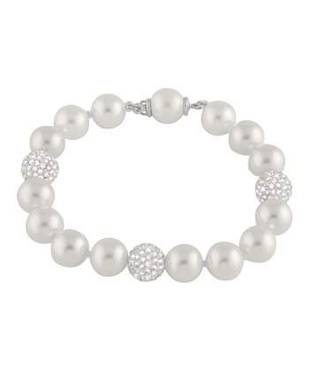 White Bead Accent Shell Pearl Bracelet