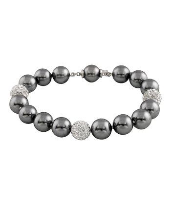 Gray Bead Accent Shell Pearl Bracelet