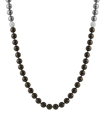 Black & Gray Extra Long Endless Shell Pearl Necklace