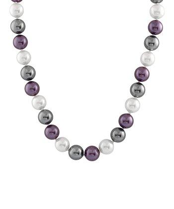 Purple & Gray Medium Shell Pearl Necklace
