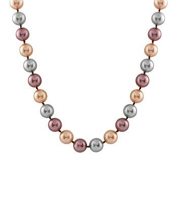 Peach & Gray Medium Shell Pearl Necklace