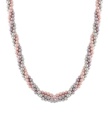 Pink & Gray Twist Shell Pearl Necklace
