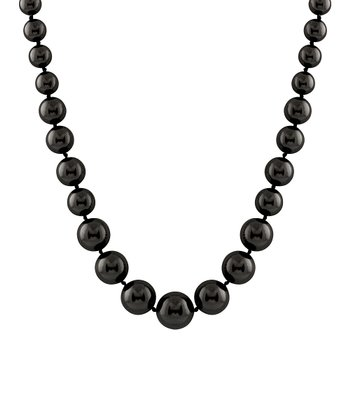 Black Large Graduated Shell Pearl Necklace