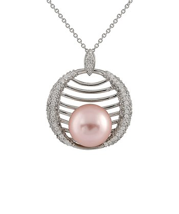 Pink Cradled Shell Pearl Pendant Necklace