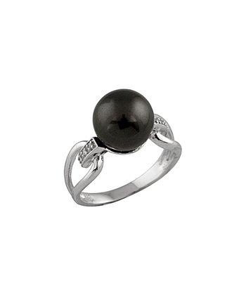 Black Shell Pearl Side Cutout Ring