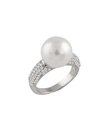 White Shell Pearl Simulated Diamond Side Ring
