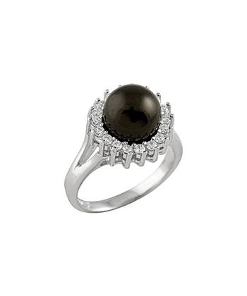 Black Shell Pearl Simulated Diamond Ring