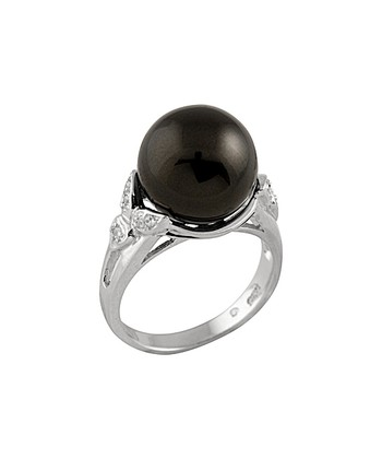 Black Shell Pearl Leaf-Side Ring