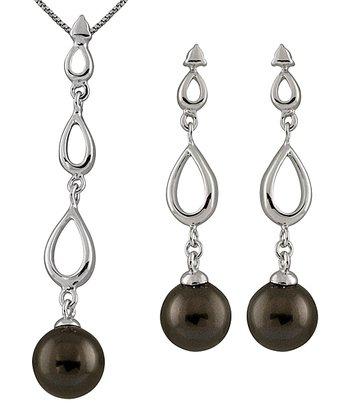 Black Shell Pearl Drop Pendant Necklace & Earrings