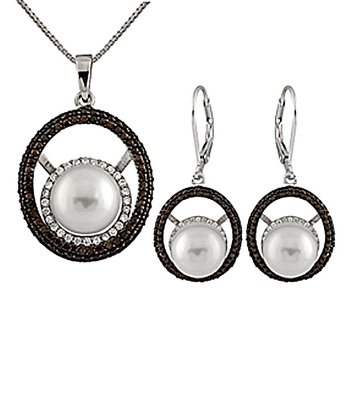 White & Chocolate Halo Shell Pearl Pendant Necklace & Earrings