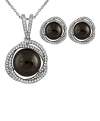 Black Shell Pearl Swirl Pendant Necklace & Earrings