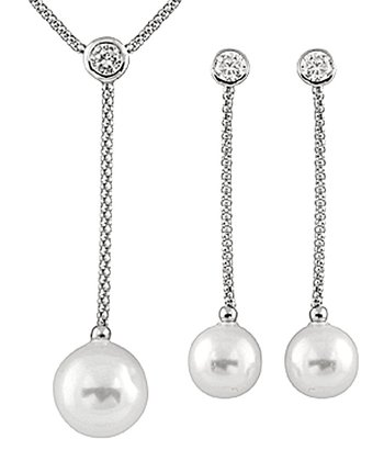 White Shell Pearl Dangling Pendant Necklace & Earrings